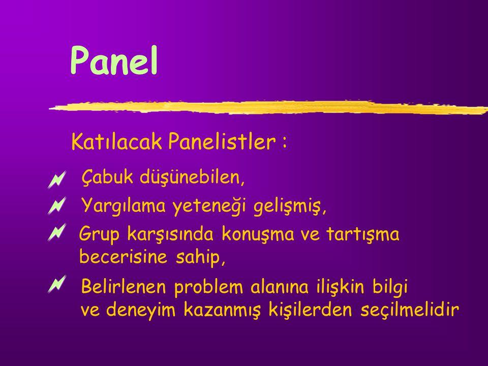 Panel Katılacak Panelistler : Çabuk düşünebilen, Yargılama yeteneği gelişmiş, Grup karşısında konuşma ve tartışma becerisine sahip, Belirlenen problem