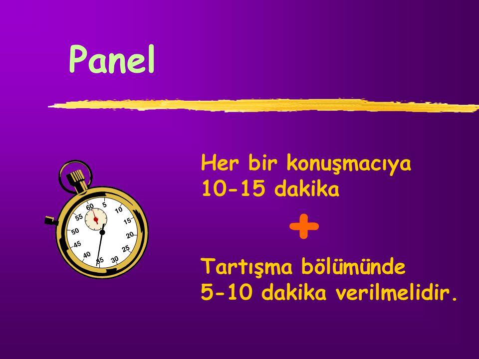 Panel Her bir konuşmacıya 10-15 dakika Tartışma bölümünde 5-10 dakika verilmelidir. +