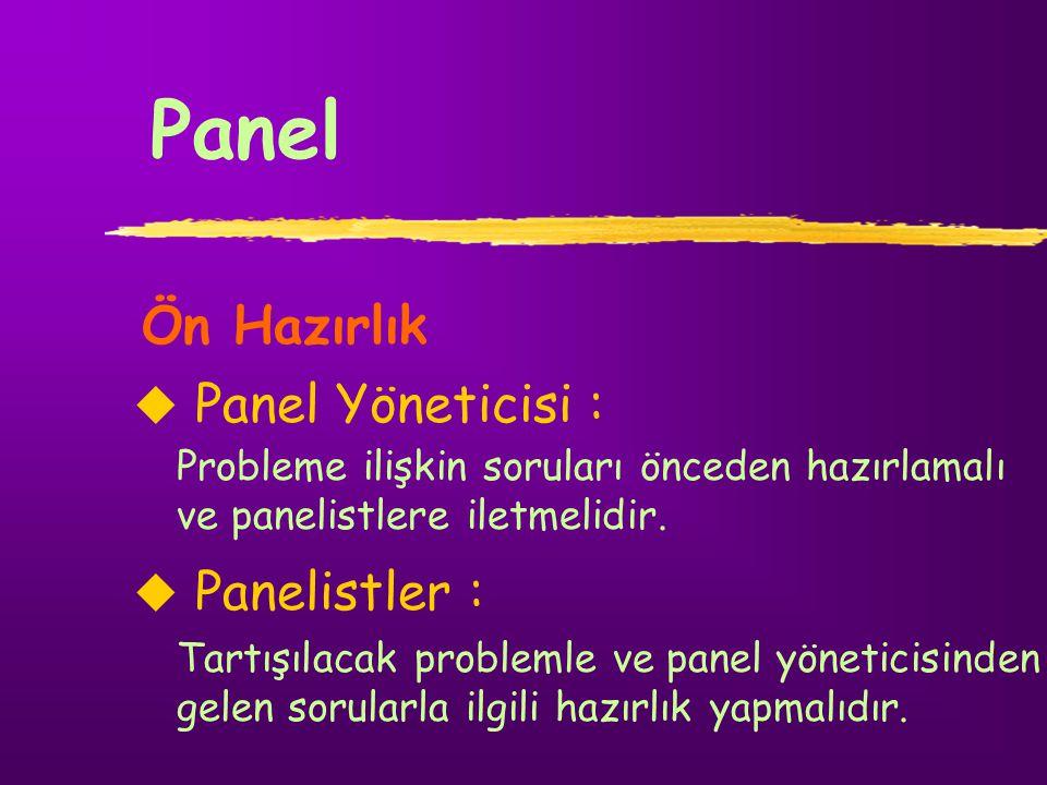 Panel Ön Hazırlık   Panel Yöneticisi :   Panelistler : Probleme ilişkin soruları önceden hazırlamalı ve panelistlere iletmelidir. Tartışılacak pro