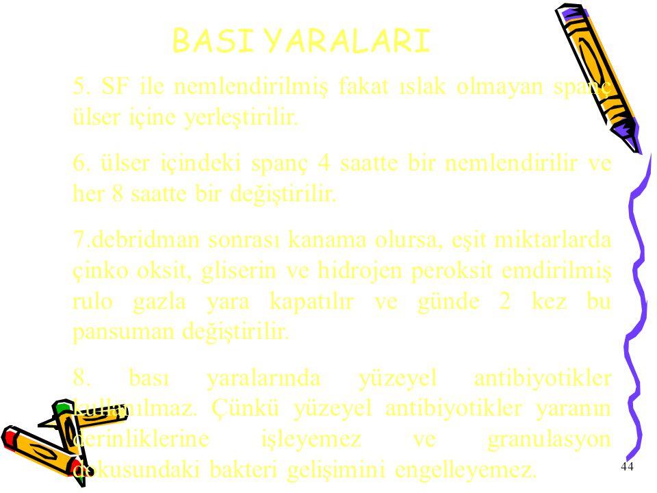 44 BASI YARALARI 5.SF ile nemlendirilmiş fakat ıslak olmayan spanç ülser içine yerleştirilir.