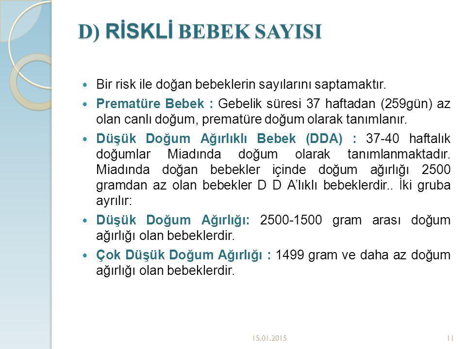 D) RİSKLİ BEBEK SAYISI Bir risk ile doğan bebeklerin sayılarını saptamaktır.