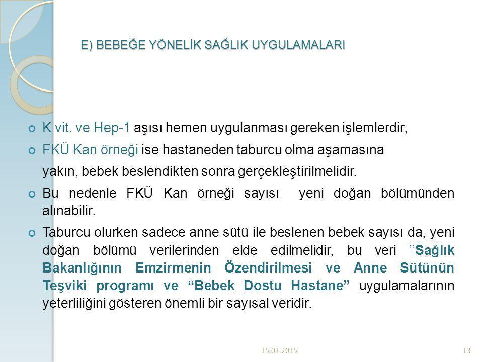 E) BEBEĞE YÖNELİK SAĞLIK UYGULAMALARI 15.01.201513 K vit.