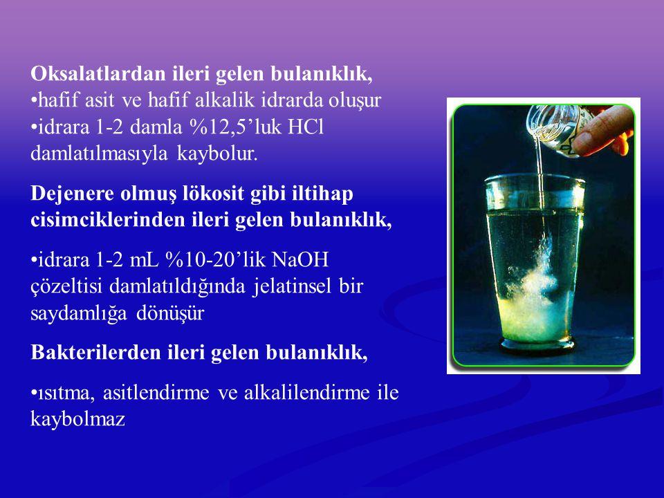 Oksalatlardan ileri gelen bulanıklık, hafif asit ve hafif alkalik idrarda oluşur idrara 1-2 damla %12,5'luk HCl damlatılmasıyla kaybolur. Dejenere olm