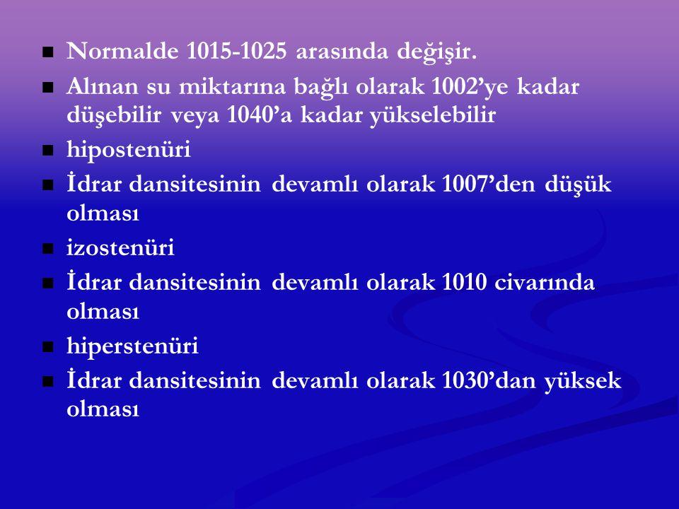 Normalde 1015-1025 arasında değişir. Alınan su miktarına bağlı olarak 1002'ye kadar düşebilir veya 1040'a kadar yükselebilir hipostenüri İdrar dansite