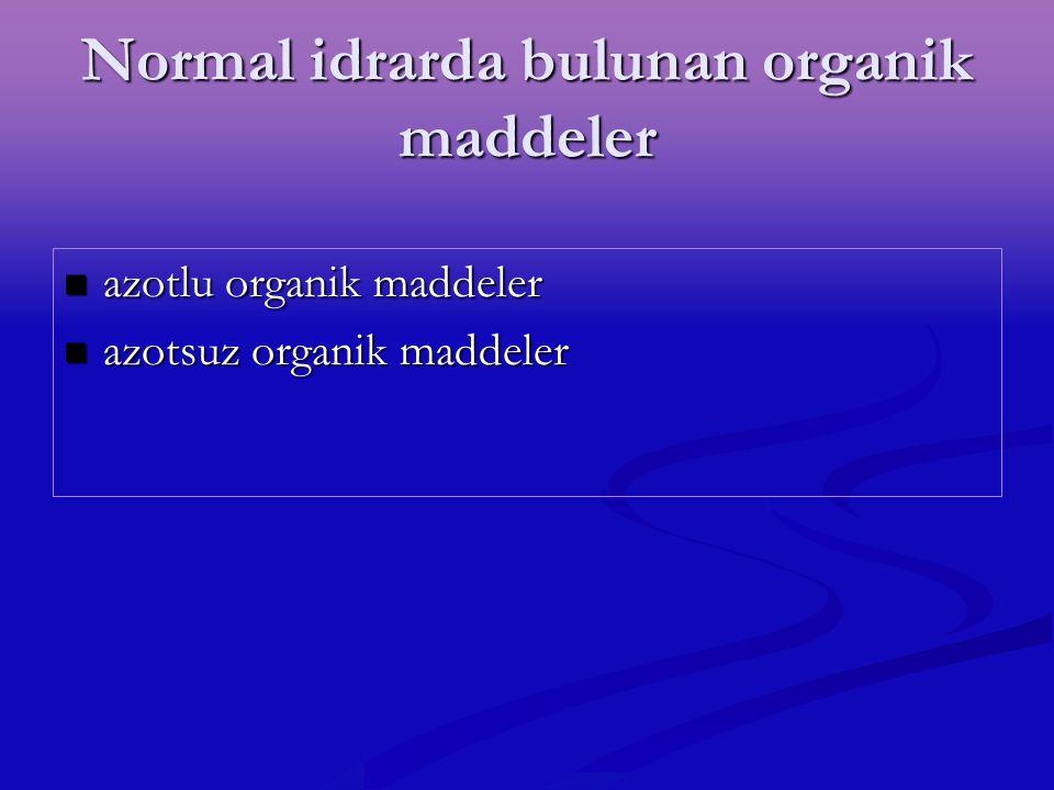 Normal idrarda bulunan organik maddeler azotlu organik maddeler azotlu organik maddeler azotsuz organik maddeler azotsuz organik maddeler
