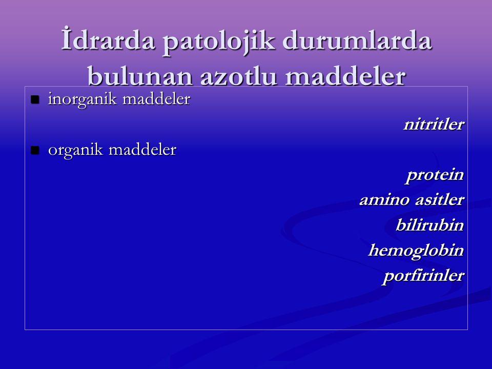 İdrarda patolojik durumlarda bulunan azotlu maddeler inorganik maddeler inorganik maddelernitritler organik maddeler organik maddeler protein amino as