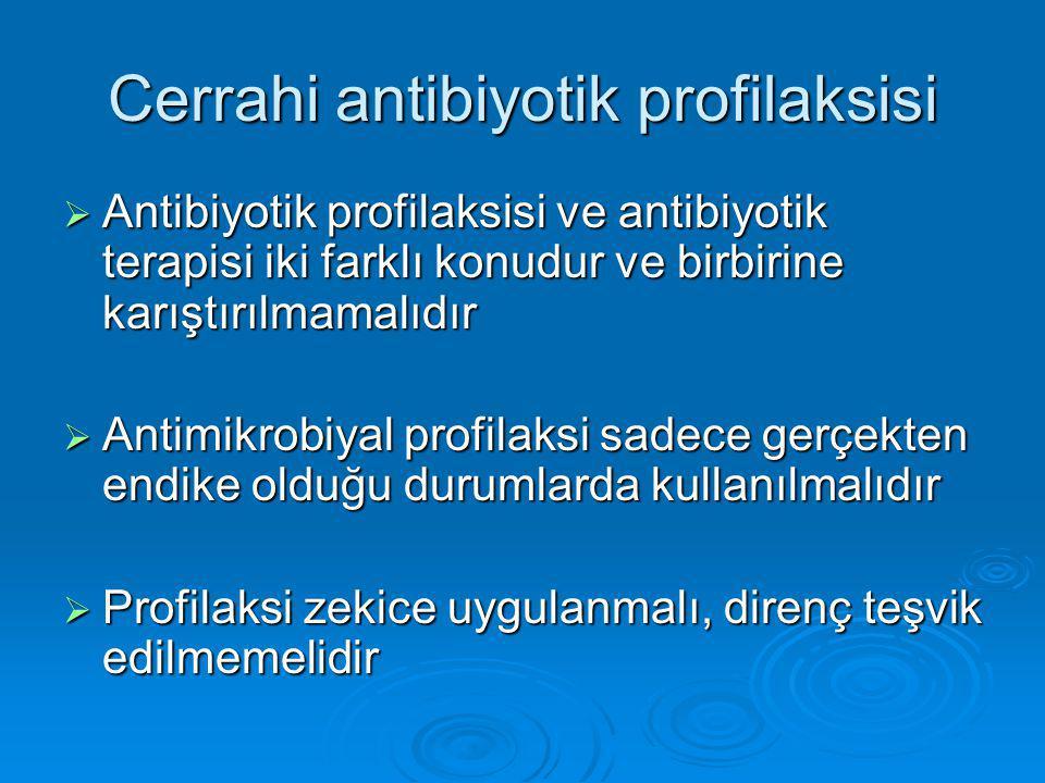 Cerrahi antibiyotik profilaksisi  Antibiyotik profilaksisi ve antibiyotik terapisi iki farklı konudur ve birbirine karıştırılmamalıdır  Antimikrobiy