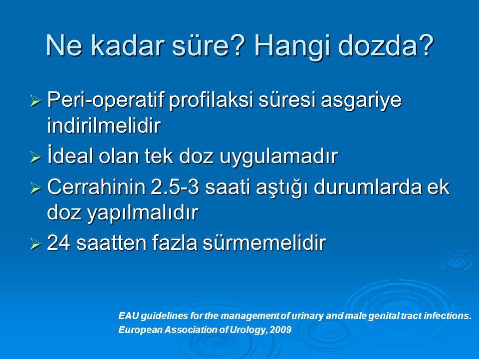Ne kadar süre? Hangi dozda?  Peri-operatif profilaksi süresi asgariye indirilmelidir  İdeal olan tek doz uygulamadır  Cerrahinin 2.5-3 saati aştığı