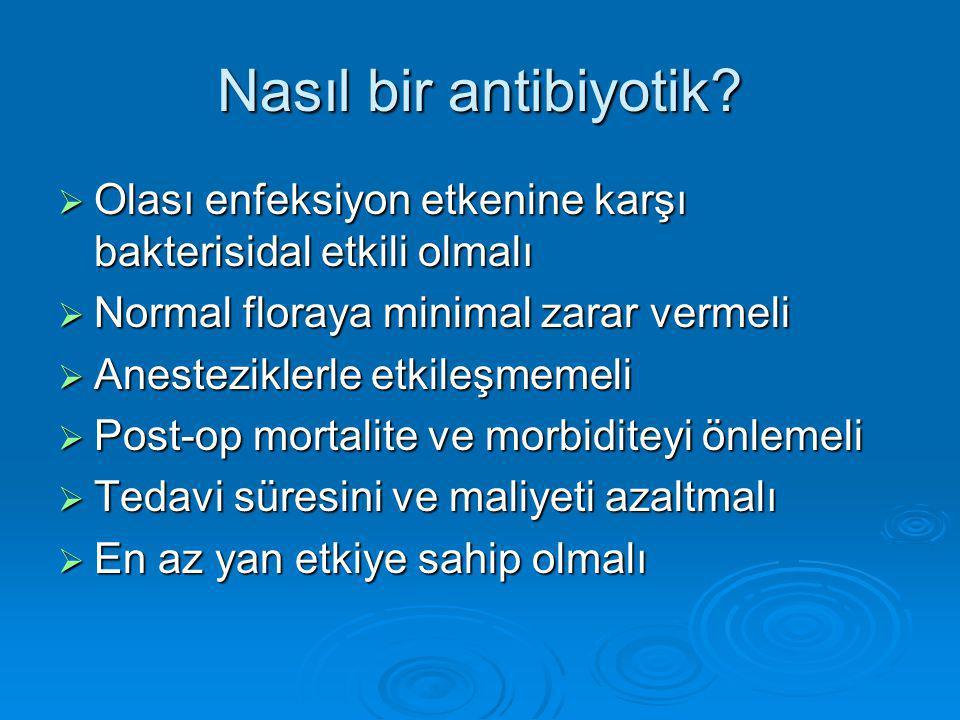 Nasıl bir antibiyotik?  Olası enfeksiyon etkenine karşı bakterisidal etkili olmalı  Normal floraya minimal zarar vermeli  Anesteziklerle etkileşmem
