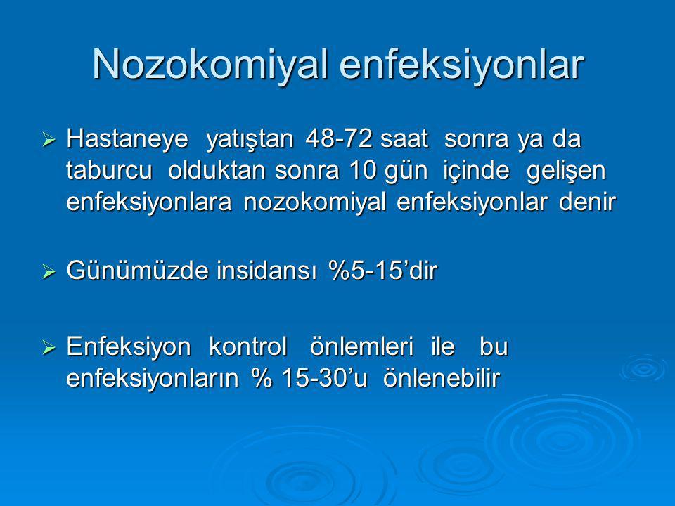 Nozokomiyal enfeksiyonlar  Hastaneye yatıştan 48-72 saat sonra ya da taburcu olduktan sonra 10 gün içinde gelişen enfeksiyonlara nozokomiyal enfeksiy