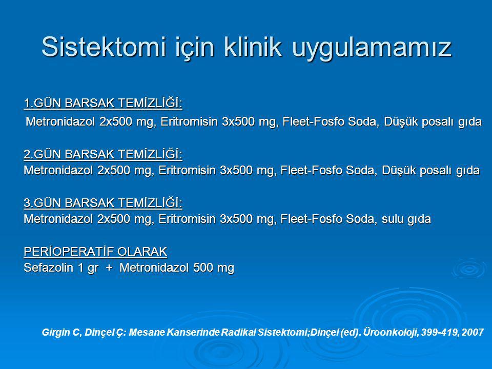 Sistektomi için klinik uygulamamız 1.GÜN BARSAK TEMİZLİĞİ: 1.GÜN BARSAK TEMİZLİĞİ: Metronidazol 2x500 mg, Eritromisin 3x500 mg, Fleet-Fosfo Soda, Düşü