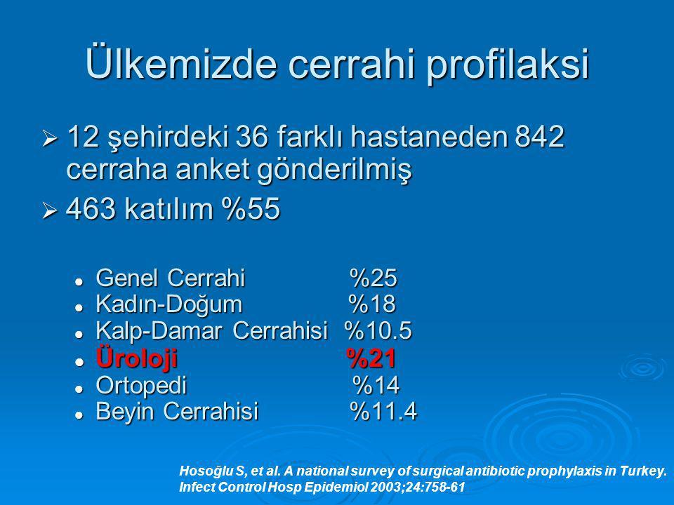 Ülkemizde cerrahi profilaksi  12 şehirdeki 36 farklı hastaneden 842 cerraha anket gönderilmiş  463 katılım %55 Genel Cerrahi %25 Genel Cerrahi %25 K