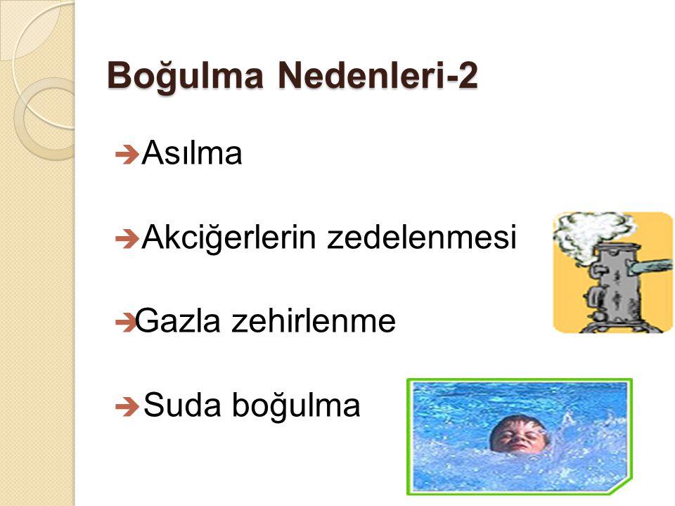 Boğulma Nedenleri-2  Asılma  Akciğerlerin zedelenmesi  Gazla zehirlenme  Suda boğulma