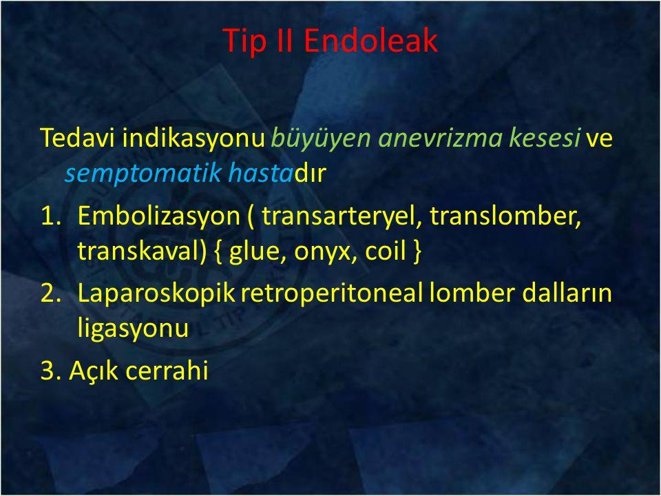Tip II Endoleak Tedavi indikasyonu büyüyen anevrizma kesesi ve semptomatik hastadır 1.Embolizasyon ( transarteryel, translomber, transkaval) { glue, o