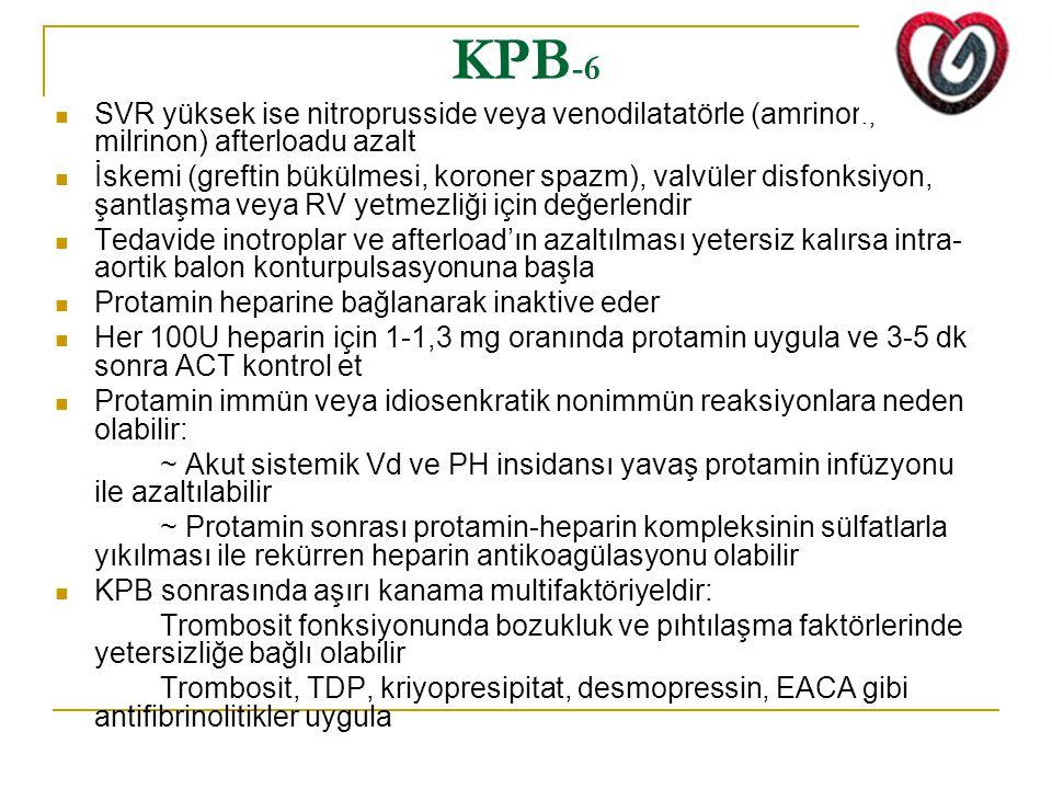 KPB -6 SVR yüksek ise nitroprusside veya venodilatatörle (amrinon, milrinon) afterloadu azalt İskemi (greftin bükülmesi, koroner spazm), valvüler disfonksiyon, şantlaşma veya RV yetmezliği için değerlendir Tedavide inotroplar ve afterload'ın azaltılması yetersiz kalırsa intra- aortik balon konturpulsasyonuna başla Protamin heparine bağlanarak inaktive eder Her 100U heparin için 1-1,3 mg oranında protamin uygula ve 3-5 dk sonra ACT kontrol et Protamin immün veya idiosenkratik nonimmün reaksiyonlara neden olabilir: ~ Akut sistemik Vd ve PH insidansı yavaş protamin infüzyonu ile azaltılabilir ~ Protamin sonrası protamin-heparin kompleksinin sülfatlarla yıkılması ile rekürren heparin antikoagülasyonu olabilir KPB sonrasında aşırı kanama multifaktöriyeldir: Trombosit fonksiyonunda bozukluk ve pıhtılaşma faktörlerinde yetersizliğe bağlı olabilir Trombosit, TDP, kriyopresipitat, desmopressin, EACA gibi antifibrinolitikler uygula