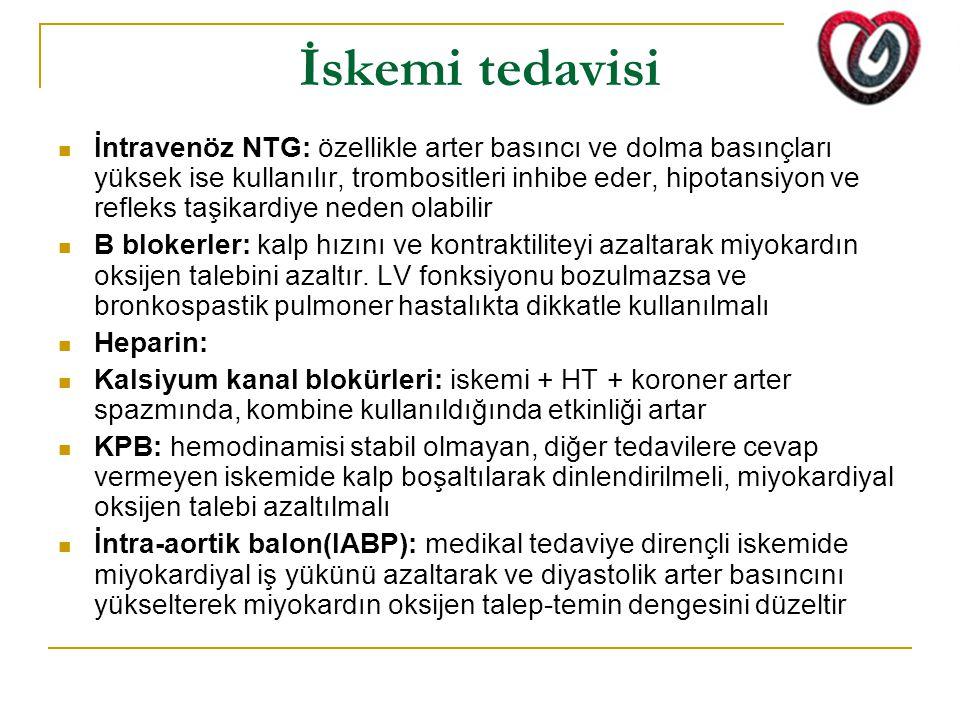 İskemi tedavisi İntravenöz NTG: özellikle arter basıncı ve dolma basınçları yüksek ise kullanılır, trombositleri inhibe eder, hipotansiyon ve refleks taşikardiye neden olabilir Β blokerler: kalp hızını ve kontraktiliteyi azaltarak miyokardın oksijen talebini azaltır.
