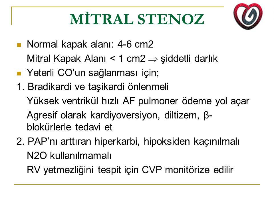 MİTRAL STENOZ Normal kapak alanı: 4-6 cm2 Mitral Kapak Alanı < 1 cm2  şiddetli darlık Yeterli CO'un sağlanması için; 1.