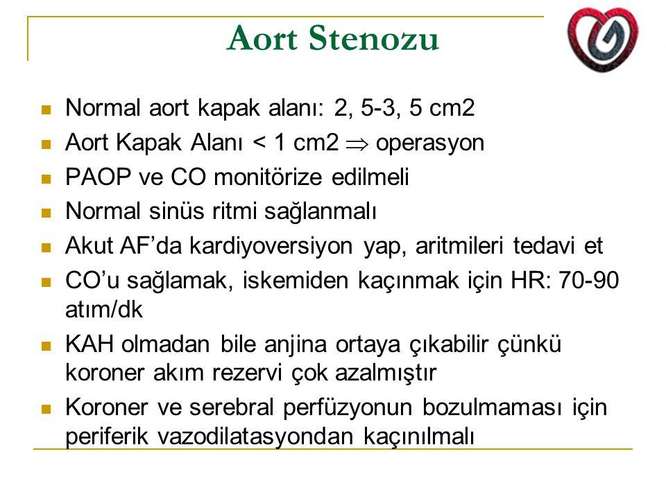 Aort Stenozu Normal aort kapak alanı: 2, 5-3, 5 cm2 Aort Kapak Alanı < 1 cm2  operasyon PAOP ve CO monitörize edilmeli Normal sinüs ritmi sağlanmalı Akut AF'da kardiyoversiyon yap, aritmileri tedavi et CO'u sağlamak, iskemiden kaçınmak için HR: 70-90 atım/dk KAH olmadan bile anjina ortaya çıkabilir çünkü koroner akım rezervi çok azalmıştır Koroner ve serebral perfüzyonun bozulmaması için periferik vazodilatasyondan kaçınılmalı