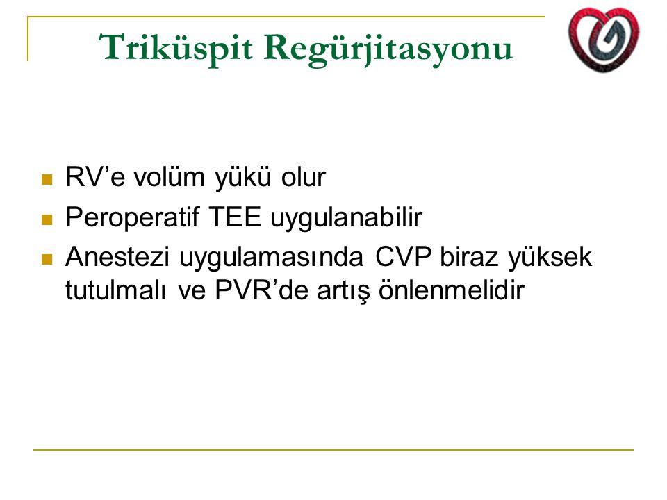 Triküspit Regürjitasyonu RV'e volüm yükü olur Peroperatif TEE uygulanabilir Anestezi uygulamasında CVP biraz yüksek tutulmalı ve PVR'de artış önlenmelidir