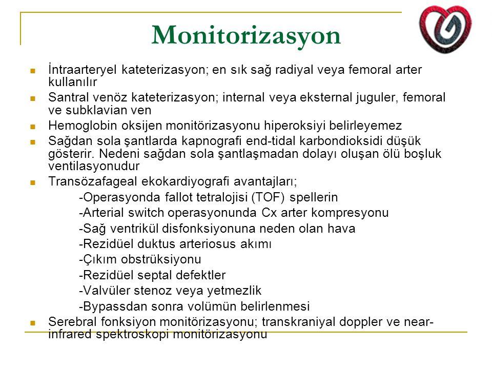 Monitorizasyon İntraarteryel kateterizasyon; en sık sağ radiyal veya femoral arter kullanılır Santral venöz kateterizasyon; internal veya eksternal juguler, femoral ve subklavian ven Hemoglobin oksijen monitörizasyonu hiperoksiyi belirleyemez Sağdan sola şantlarda kapnografi end-tidal karbondioksidi düşük gösterir.