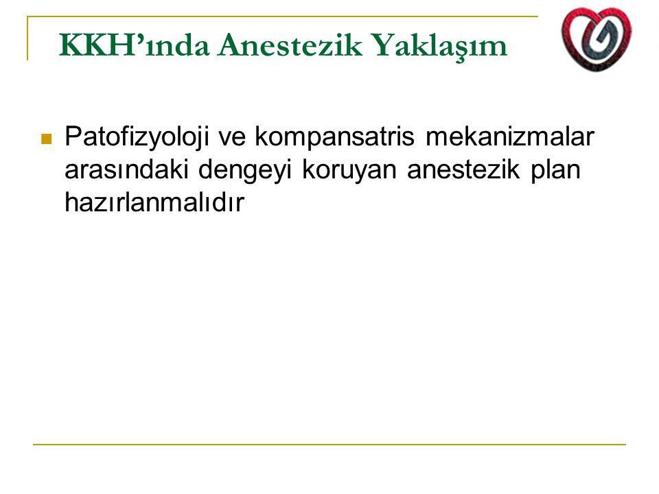 KKH'ında Anestezik Yaklaşım Patofizyoloji ve kompansatris mekanizmalar arasındaki dengeyi koruyan anestezik plan hazırlanmalıdır
