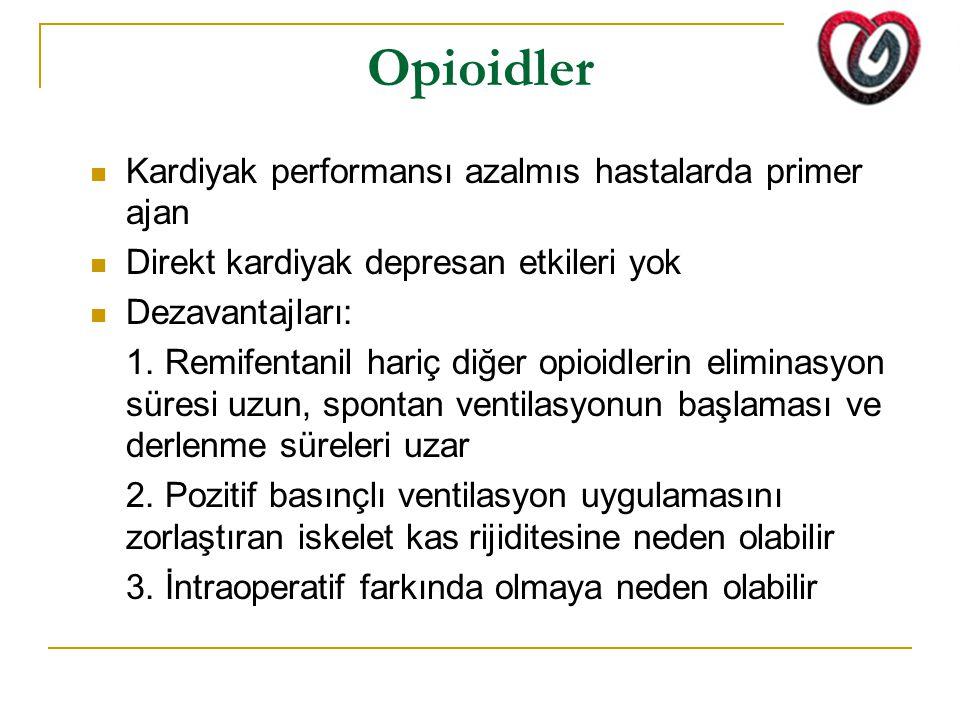 Opioidler Kardiyak performansı azalmıs hastalarda primer ajan Direkt kardiyak depresan etkileri yok Dezavantajları: 1.