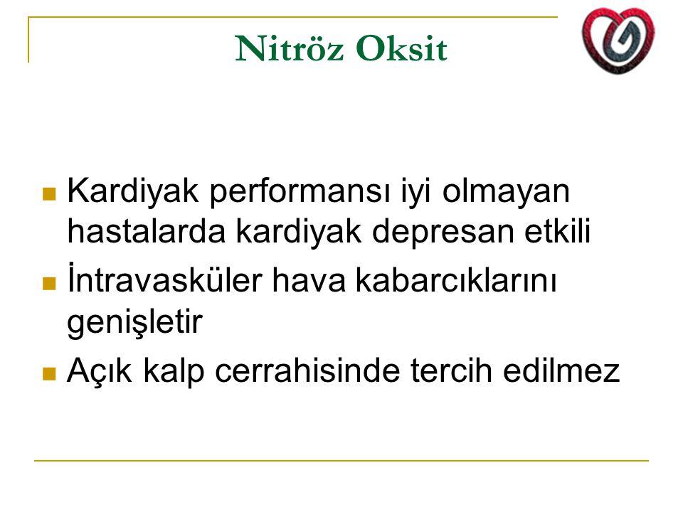 Nitröz Oksit Kardiyak performansı iyi olmayan hastalarda kardiyak depresan etkili İntravasküler hava kabarcıklarını genişletir Açık kalp cerrahisinde tercih edilmez