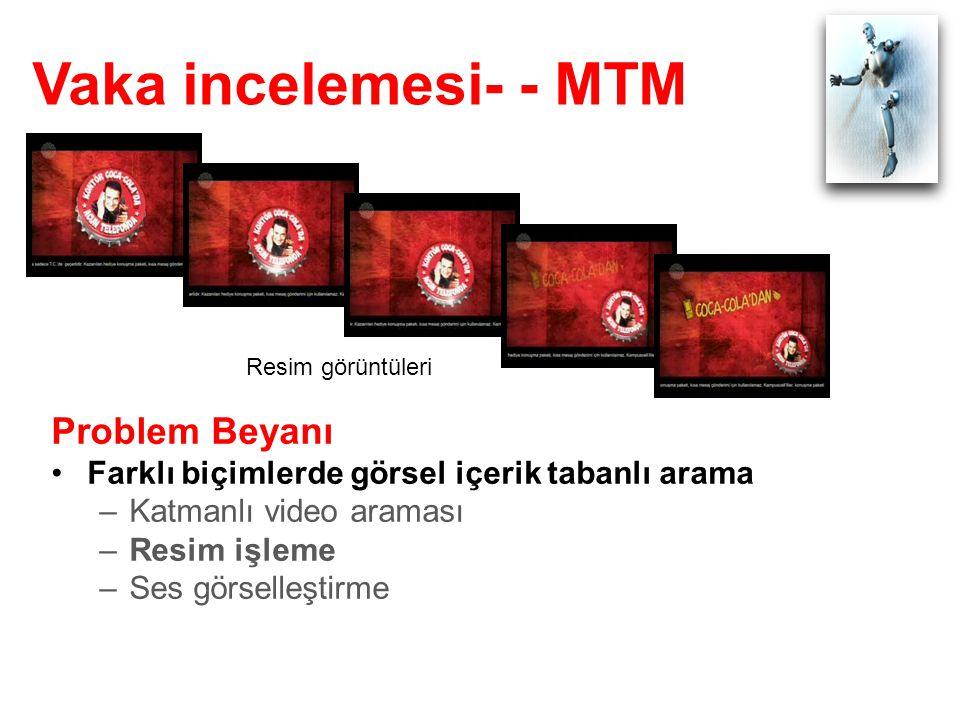 Vaka incelemesi- - MTM Problem Beyanı Farklı biçimlerde görsel içerik tabanlı arama –Katmanlı video araması –Resim işleme –Ses görselleştirme Resim görüntüleri