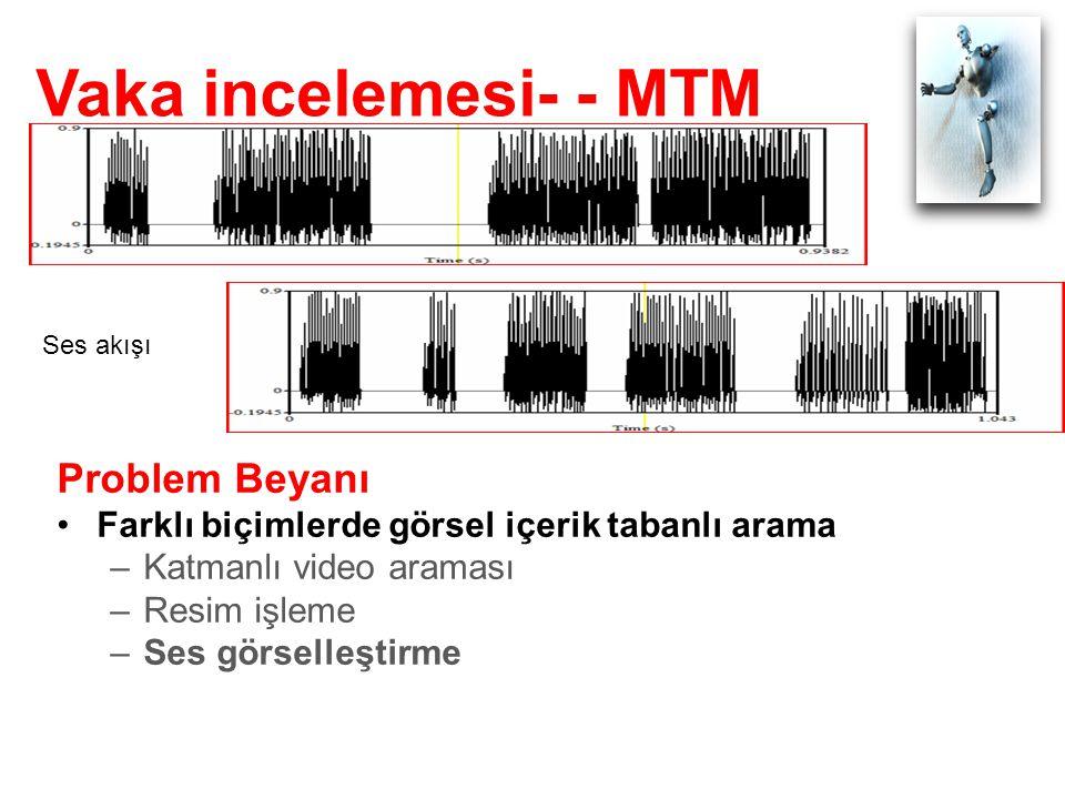 Vaka incelemesi- - MTM Ses akışı Problem Beyanı Farklı biçimlerde görsel içerik tabanlı arama –Katmanlı video araması –Resim işleme –Ses görselleştirme