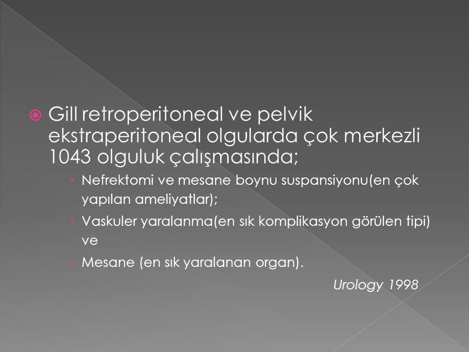  Gill retroperitoneal ve pelvik ekstraperitoneal olgularda çok merkezli 1043 olguluk çalışmasında;  Nefrektomi ve mesane boynu suspansiyonu(en çok y