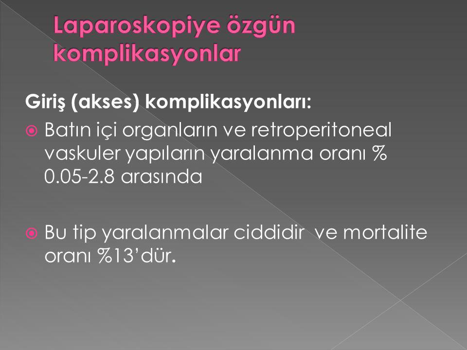 Giriş (akses) komplikasyonları:  Batın içi organların ve retroperitoneal vaskuler yapıların yaralanma oranı % 0.05-2.8 arasında  Bu tip yaralanmalar