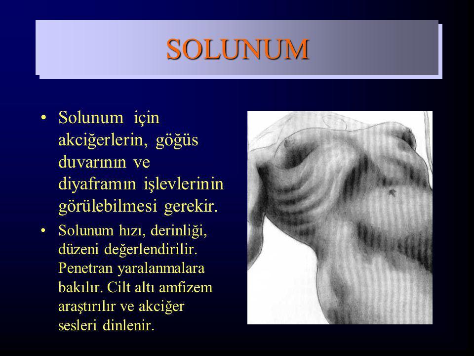 Solunum için akciğerlerin, göğüs duvarının ve diyaframın işlevlerinin görülebilmesi gerekir. Solunum hızı, derinliği, düzeni değerlendirilir. Penetran