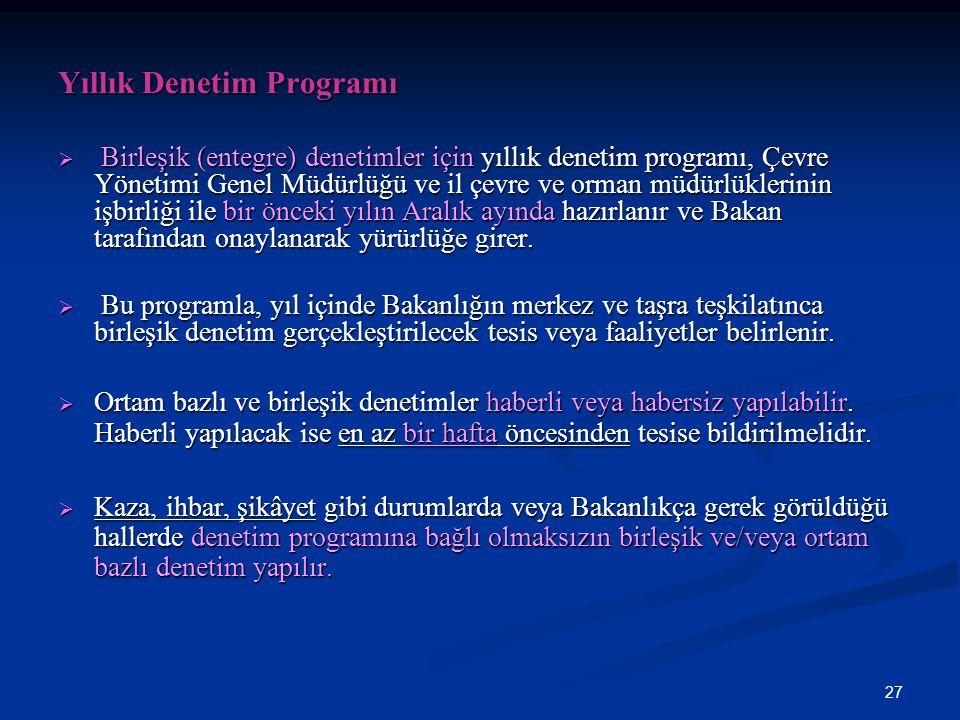 27 Yıllık Denetim Programı  Birleşik (entegre) denetimler için yıllık denetim programı, Çevre Yönetimi Genel Müdürlüğü ve il çevre ve orman müdürlükl