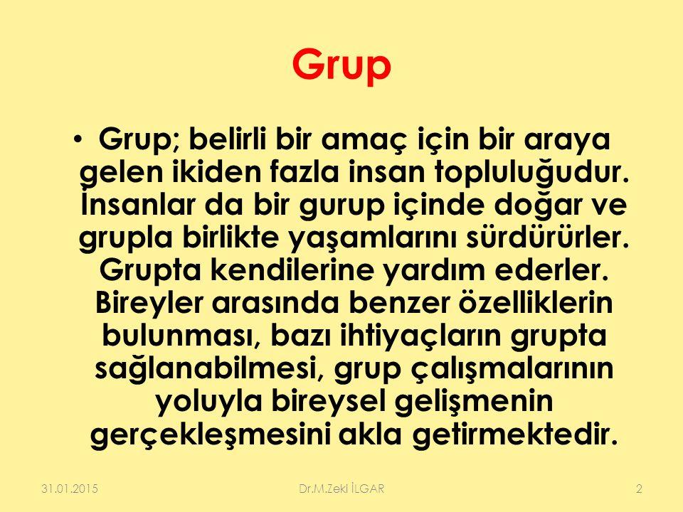 Grup Grup; belirli bir amaç için bir araya gelen ikiden fazla insan topluluğudur. İnsanlar da bir gurup içinde doğar ve grupla birlikte yaşamlarını sü