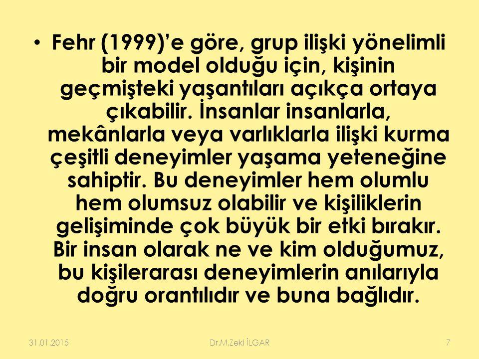 Fehr (1999)'e göre, grup ilişki yönelimli bir model olduğu için, kişinin geçmişteki yaşantıları açıkça ortaya çıkabilir. İnsanlar insanlarla, mekânlar