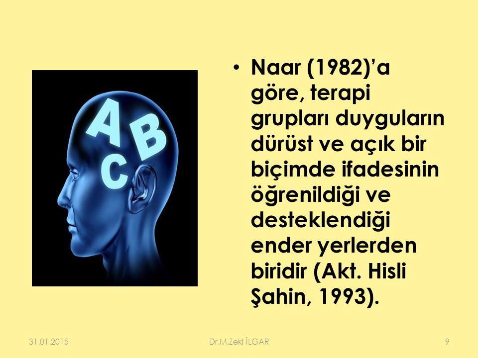 Naar (1982)'a göre, terapi grupları duyguların dürüst ve açık bir biçimde ifadesinin öğrenildiği ve desteklendiği ender yerlerden biridir (Akt. Hisli