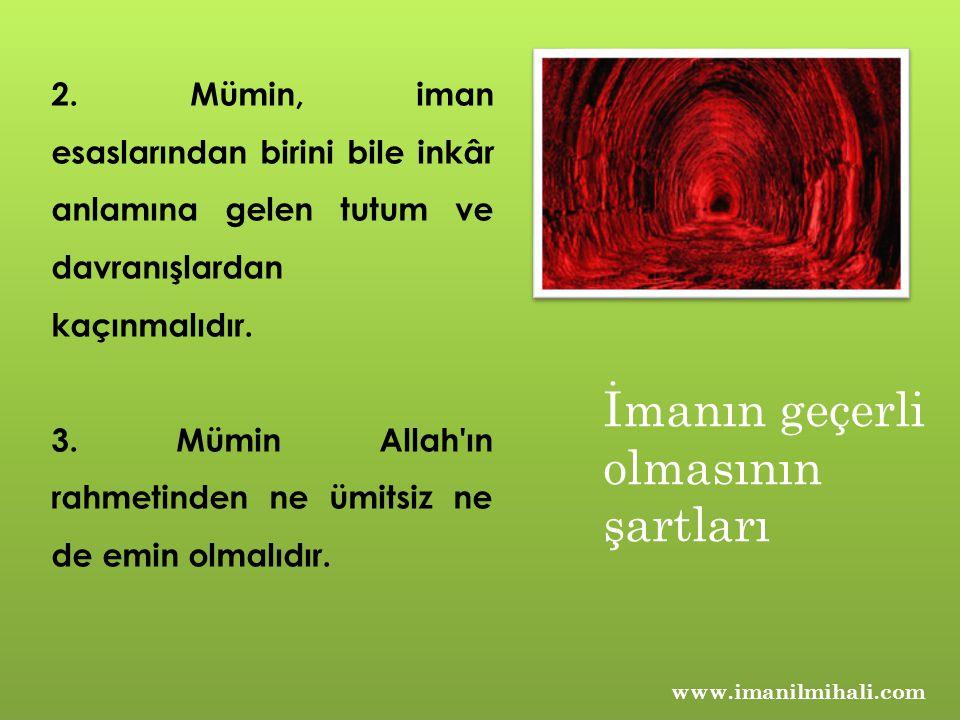 www.imanilmihali.com 2. Mümin, iman esaslarından birini bile inkâr anlamına gelen tutum ve davranışlardan kaçınmalıdır. 3. Mümin Allah'ın rahmetinden