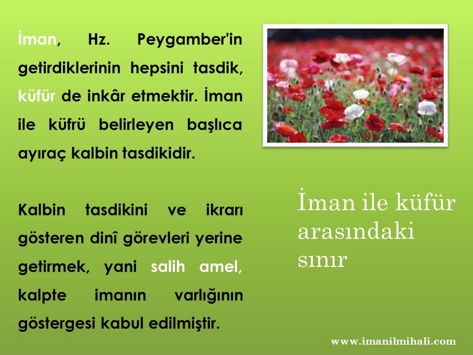 www.imanilmihali.com İman, Hz. Peygamber'in getirdiklerinin hepsini tasdik, küfür de inkâr etmektir. İman ile küfrü belirleyen başlıca ayıraç kalbin t