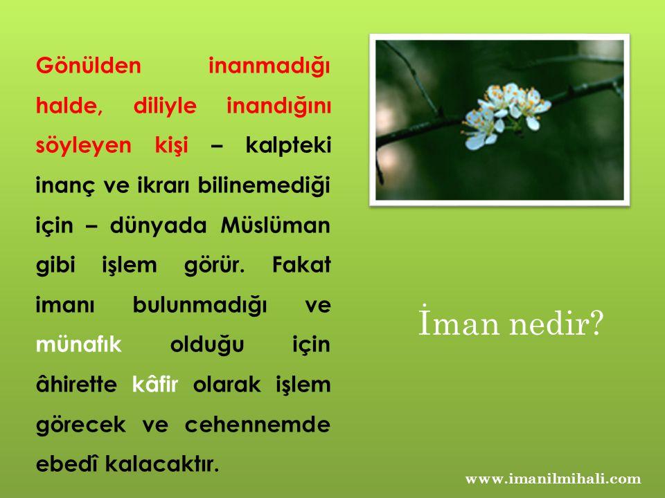 İman nedir? Gönülden inanmadığı halde, diliyle inandığını söyleyen kişi – kalpteki inanç ve ikrarı bilinemediği için – dünyada Müslüman gibi işlem gör