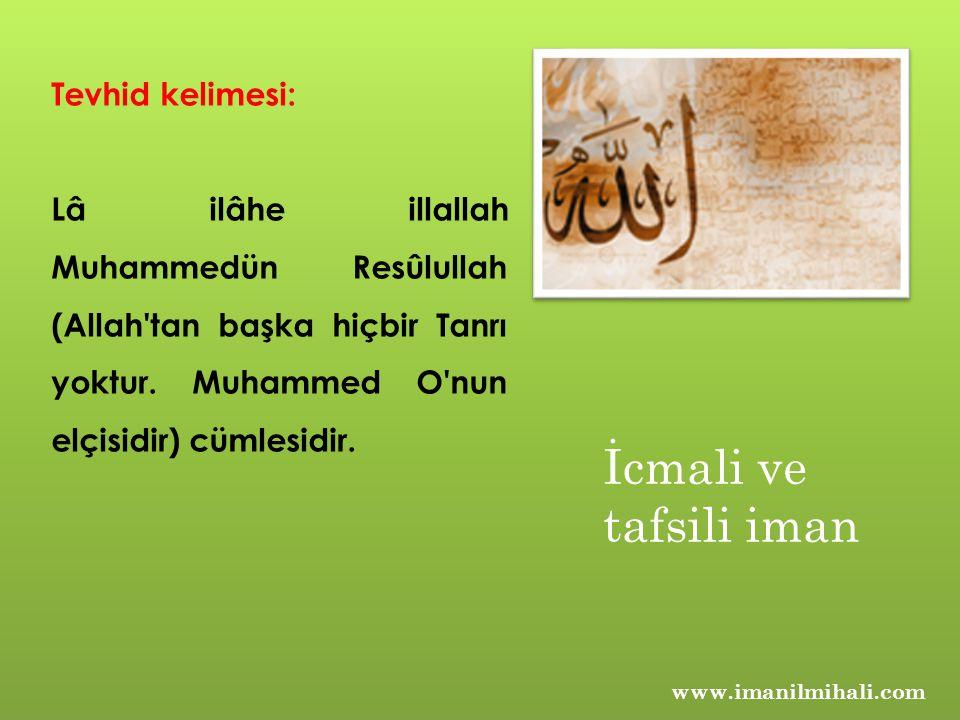 İcmali ve tafsili iman Tevhid kelimesi: Lâ ilâhe illallah Muhammedün Resûlullah (Allah'tan başka hiçbir Tanrı yoktur. Muhammed O'nun elçisidir) cümles