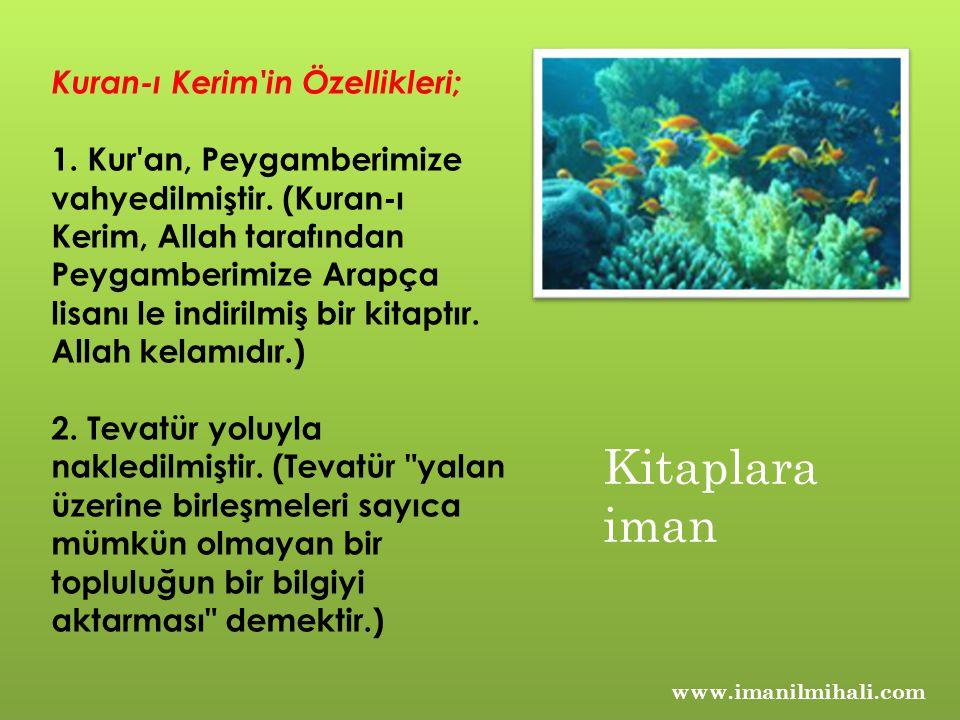 Kuran-ı Kerim'in Özellikleri; 1. Kur'an, Peygamberimize vahyedilmiştir. (Kuran-ı Kerim, Allah tarafından Peygamberimize Arapça lisanı le indirilmiş bi