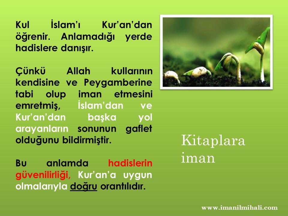 www.imanilmihali.com Kul İslam'ı Kur'an'dan öğrenir. Anlamadığı yerde hadislere danışır. Çünkü Allah kullarının kendisine ve Peygamberine tabi olup im