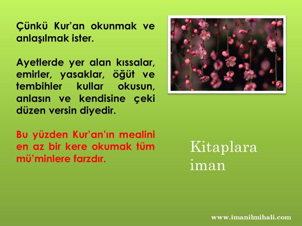 www.imanilmihali.com Çünkü Kur'an okunmak ve anlaşılmak ister. Ayetlerde yer alan kıssalar, emirler, yasaklar, öğüt ve tembihler kullar okusun, anlası