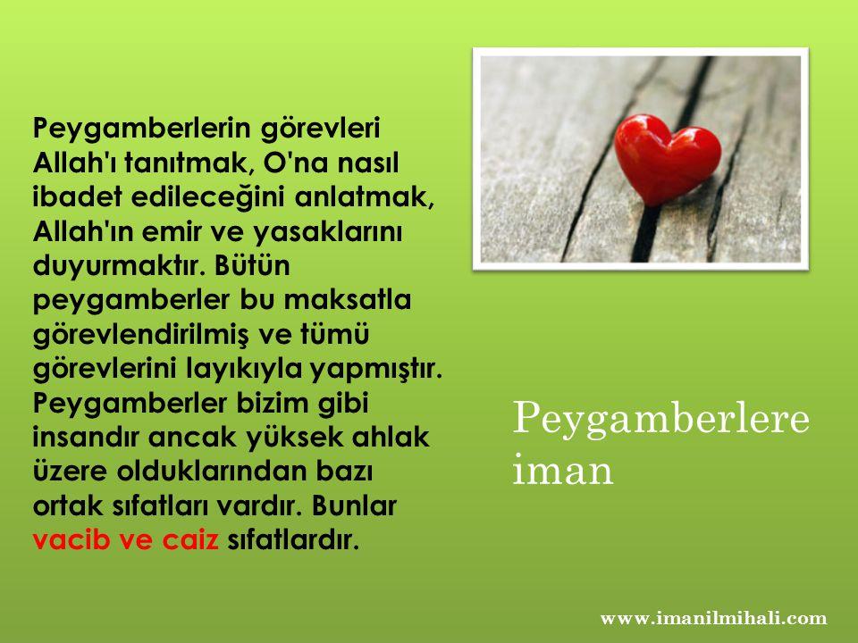 www.imanilmihali.com Peygamberlerin görevleri Allah ı tanıtmak, O na nasıl ibadet edileceğini anlatmak, Allah ın emir ve yasaklarını duyurmaktır.