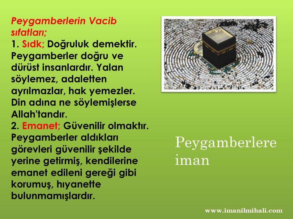 www.imanilmihali.com Peygamberlerin Vacib sıfatları; 1.