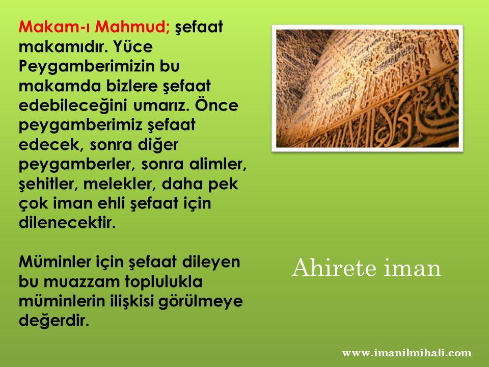 Makam-ı Mahmud; şefaat makamıdır. Yüce Peygamberimizin bu makamda bizlere şefaat edebileceğini umarız. Önce peygamberimiz şefaat edecek, sonra diğer p