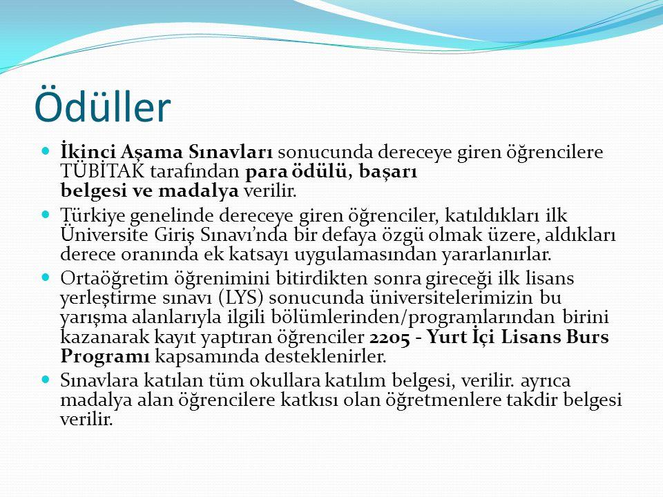 Ödüller İkinci Aşama Sınavları sonucunda dereceye giren öğrencilere TÜBİTAK tarafından para ödülü, başarı belgesi ve madalya verilir. Türkiye genelind