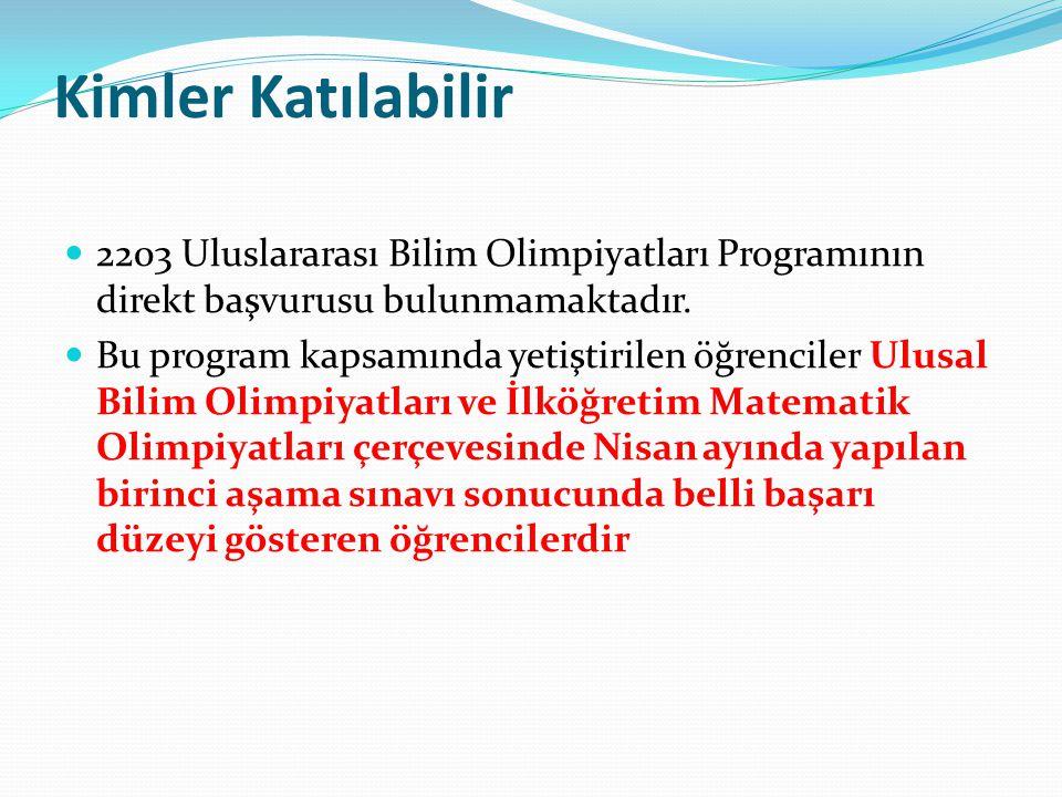 Kimler Katılabilir 2203 Uluslararası Bilim Olimpiyatları Programının direkt başvurusu bulunmamaktadır. Bu program kapsamında yetiştirilen öğrenciler U