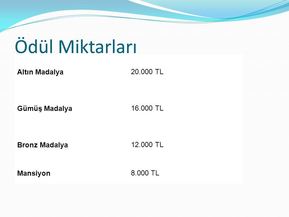 Ödül Miktarları Altın Madalya20.000 TL Gümüş Madalya16.000 TL Bronz Madalya12.000 TL Mansiyon8.000 TL
