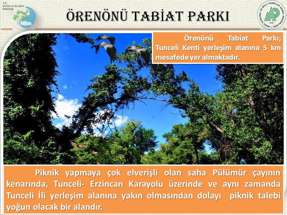 ARZ EDER İ M M. Fehmi YÜKSEL Bölge Müdür V. 4/37 ÖRENÖNÜ TAB İ AT PARKI Örenönü Tabiat Parkı; Tunceli Kenti yerleşim alanına 5 km mesafede yer almakta